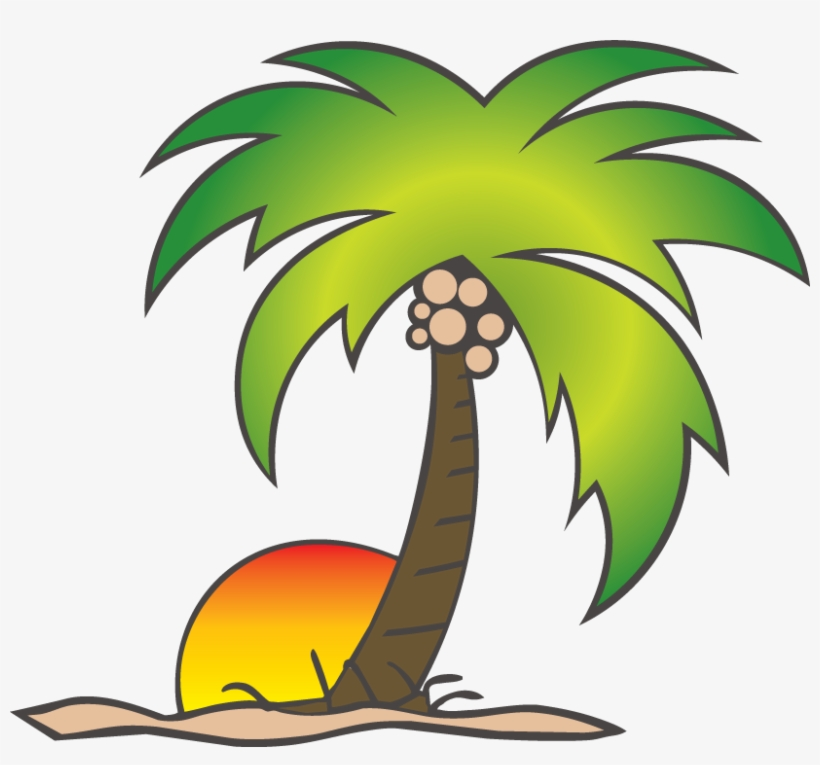 Cartoon Coconut Tree Png - Sun And Palm Tree Png, transparent png #81318