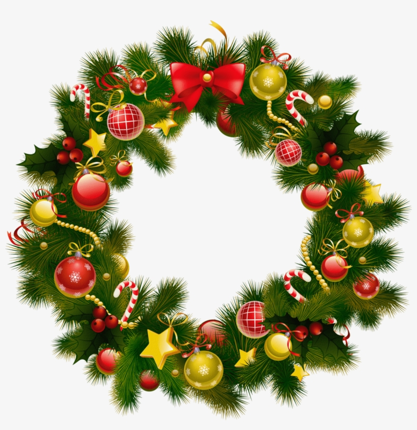 Simple Christmas Wreath - Christmas Wreath Frame Png, transparent png #83349