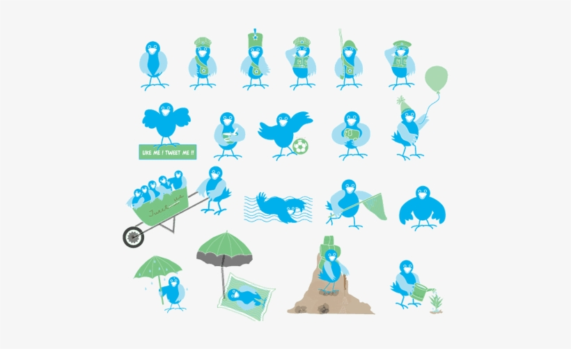 Cute Twitter Birds Png Icons My Free Photoshop World - Twitter Bird Icon, transparent png #84064