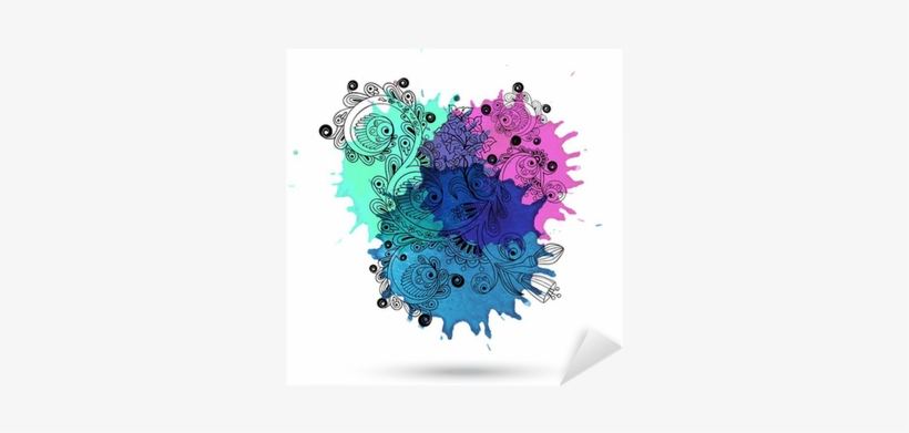 Vector Watercolor Abstract Design With Doodle Sticker - Watercolor Painting, transparent png #84532