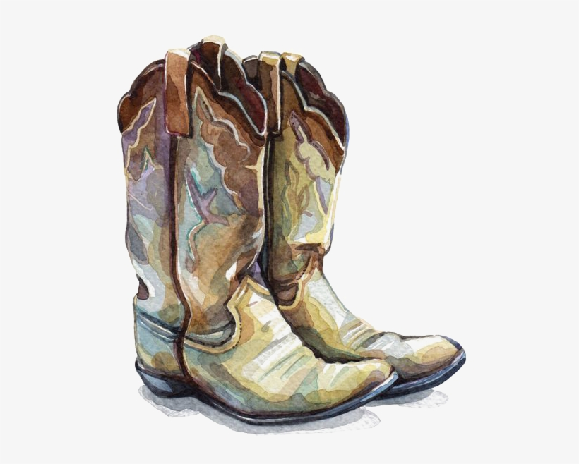 Boot Watercolor Painting Shoe - Life Is Better In Cowboy Boots, transparent png #84708