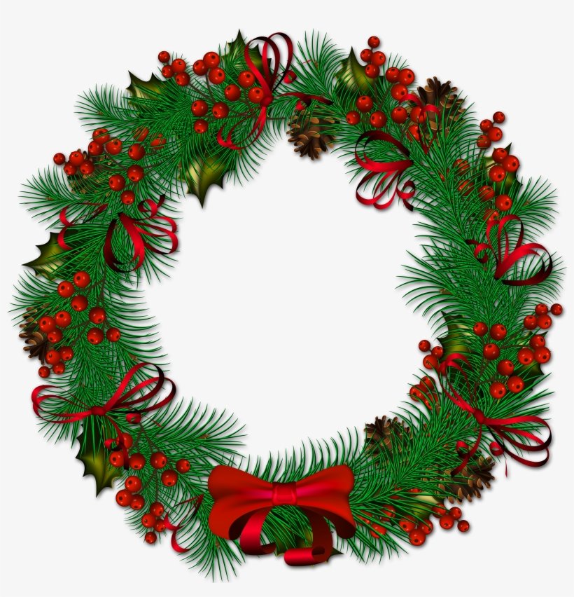 Christmas Pinecone With Red Ribbon Is Available - Transparent Background Christmas Wreath Clipart, transparent png #85891