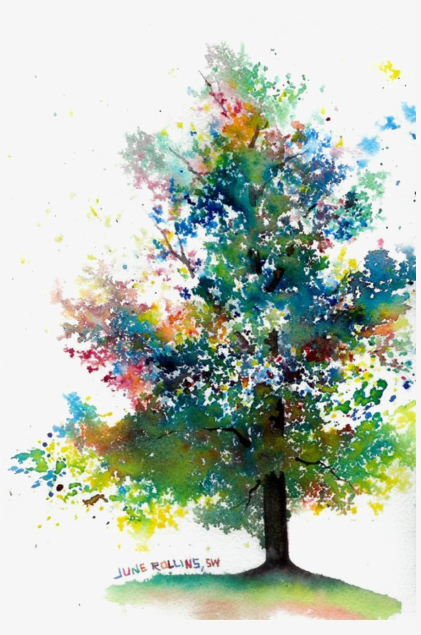 Report Abuse - Abstract Tree Watercolor Painting, transparent png #86476
