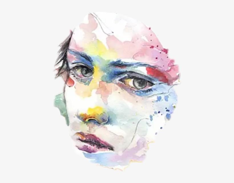 Watercolor Watercolors Hand Face Art Flowers Table - Watercolor Girl Painting Sad, transparent png #88877