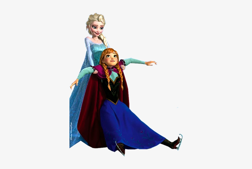 Elsa Holding Anna - Frozen Elsa And Anna Ice Skating, transparent png #89313