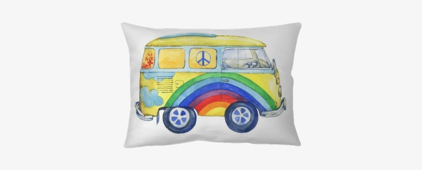 Old-fashioned Yellow Hippie Сamper Bus, Painted In - Watercolor Painting, transparent png #89624
