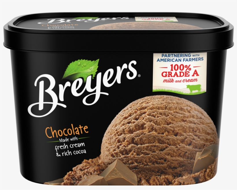 A 48 Ounce Tub Of Breyers Chocolate Front Of Pack - Breyers Chocolate Ice Cream, transparent png #800622