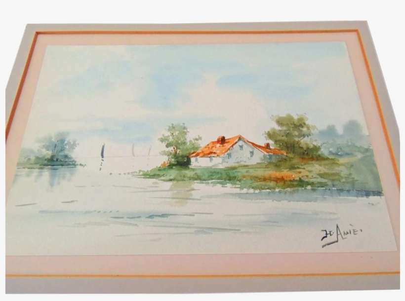 A Beautiful Matted Watercolor Signed By American Artist - Watercolor Painting, transparent png #802274