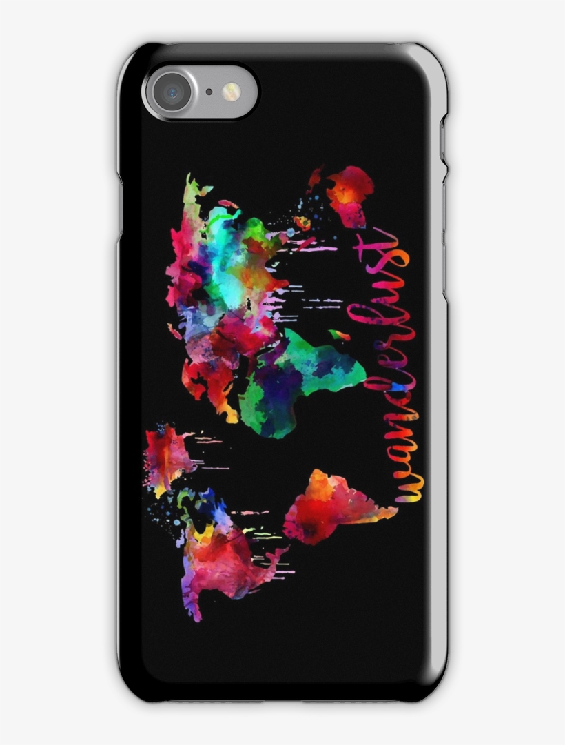 Watercolor Wanderlust World Map Iphone 7 Snap Case - Calpurnia Phone Case, transparent png #802364