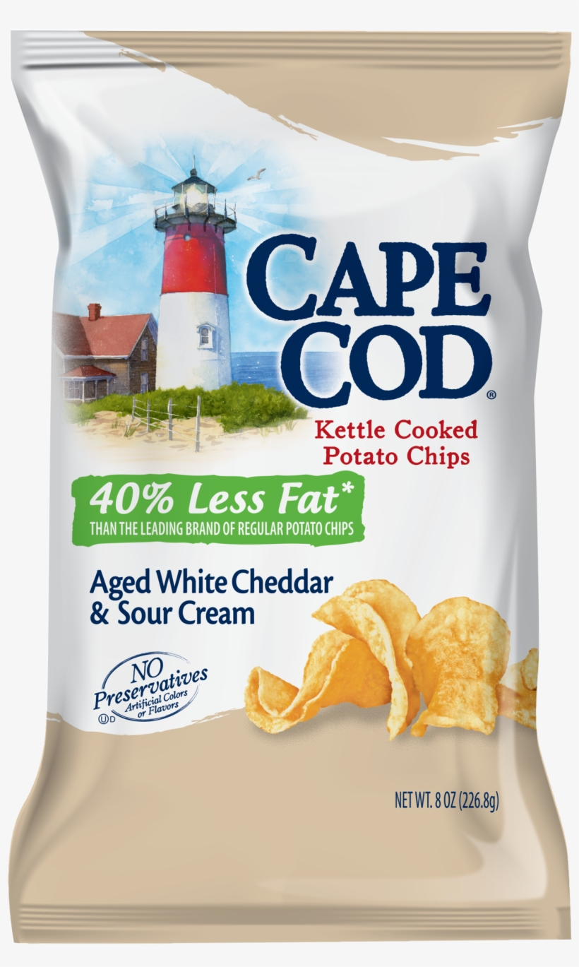 Cape Cod Reduced Fat Aged White Cheddar & Sour Cream - Cape Cod Original Kettle Cooked Potato Chips - 8.5, transparent png #802937