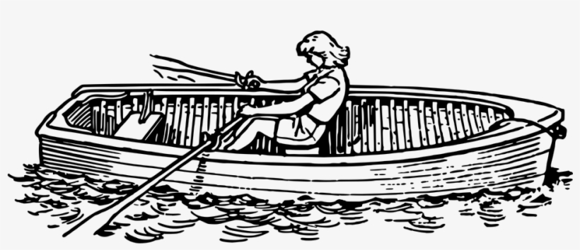 Black And White Download Collection Of Free Canoed - Row Boat Clip Art, transparent png #807959