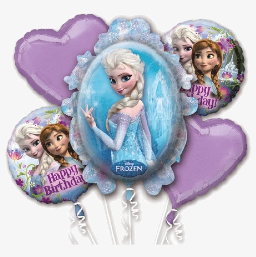 Frozen Anna & Elsa 5 Balloon Bouquet Happy Birthday - Disney Frozen Balloon Bouquet (each), transparent png #808433