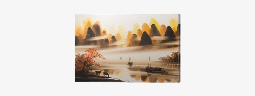 Chinese Landscape Watercolor Painting Canvas Print - Watercolor Painting, transparent png #809346