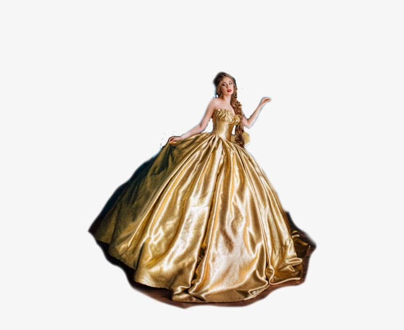 Dancing Woman In A Gold Dress - Beautiful Woman In A Ball Gown, transparent png #8012239