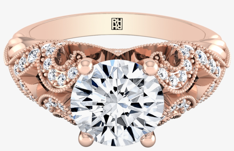 Round Cut Diamond Engagement Ring With Scroll Detail - Engagement Ring, transparent png #8035516