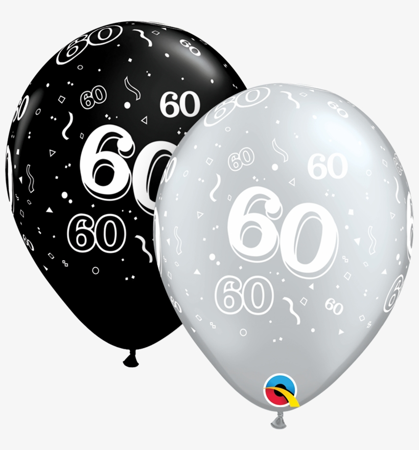 Latex Balloons Black & Silver Age - 60th Birthday Balloons Png, transparent png #8045329