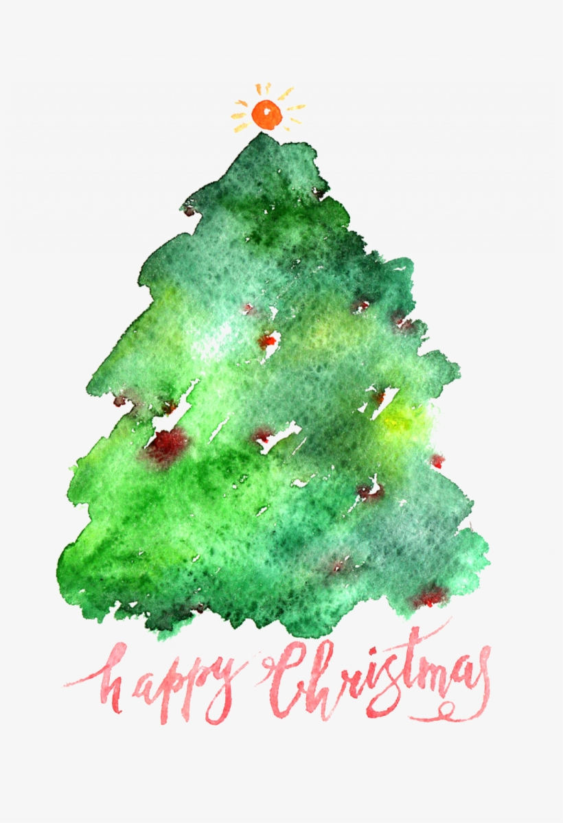 Santa Claus Christmas Tree Watercolor Painting Simple - Watercolor Evergreen Christmas Tree, transparent png #8048446