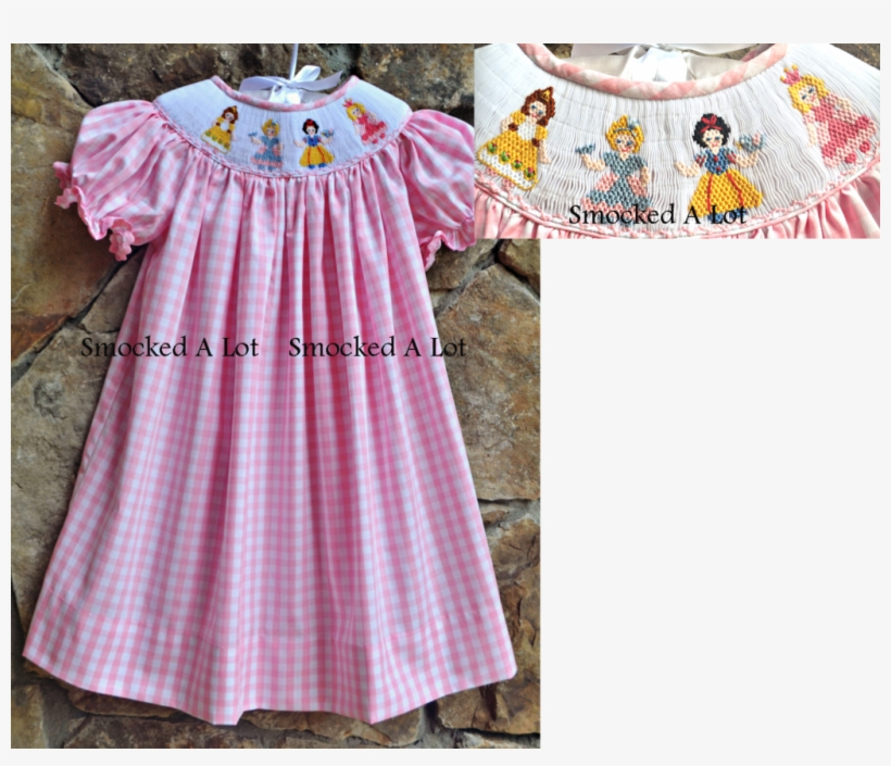Smocked Princess Dress Pink Gingham Belle, Cinderella, - Princess Smocked Dress, transparent png #8052693