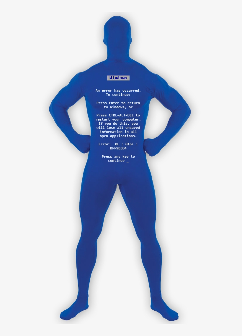 This Costume Is Guaranteed To Get A Reaction From Fellow - Blue Screen Of Death Halloween Costume, transparent png #8074843