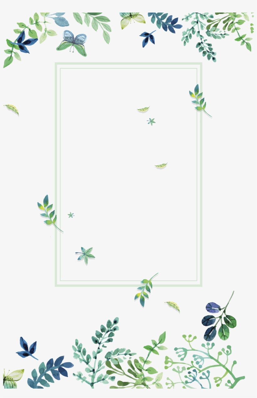 Texture Green Small Fresh Flowers Border Clipart - Watercolor Green Flowers Png, transparent png #8091429