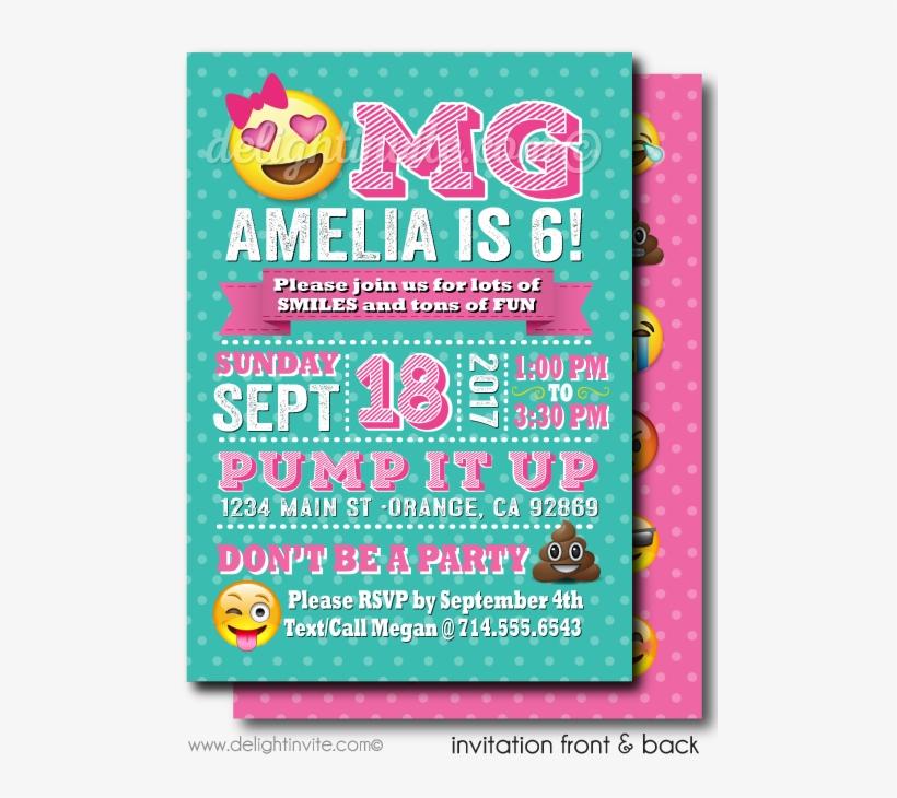 Omg Emoji Birthday Party Invitations
