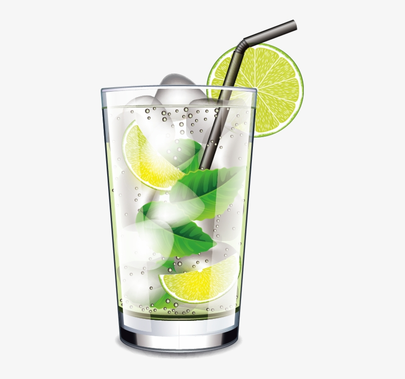 Mojito Cocktail Juice Drink Transprent Png Free - Glass With Ice And Straw, transparent png #815593