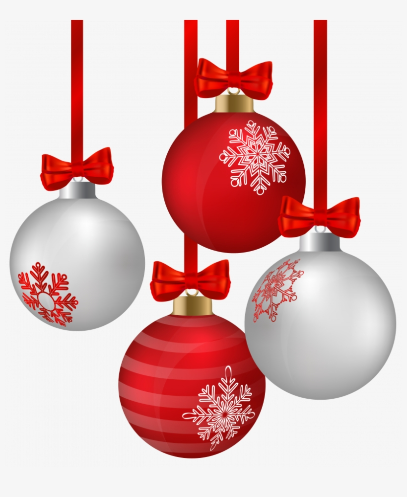 White And Red Hanging Christmas Ornaments Png Clipart - Ornaments Clipart, transparent png #817855