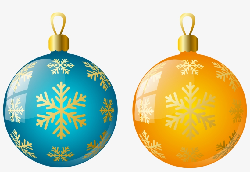 Large Size Transparent Yellow And Blue Christmas Ball - Yellow Christmas Balls Png, transparent png #817886