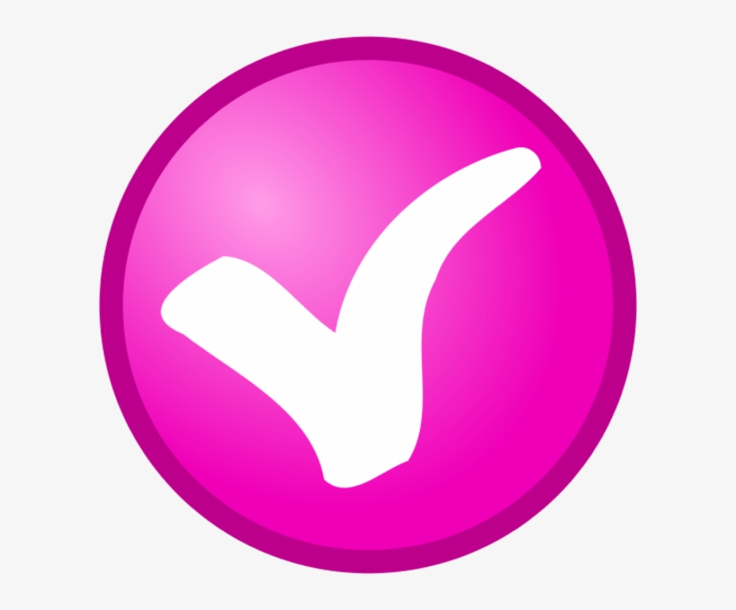 Check Mark In A Round Button Vector Clip Art - Small Pink Check Mark, transparent png #818254