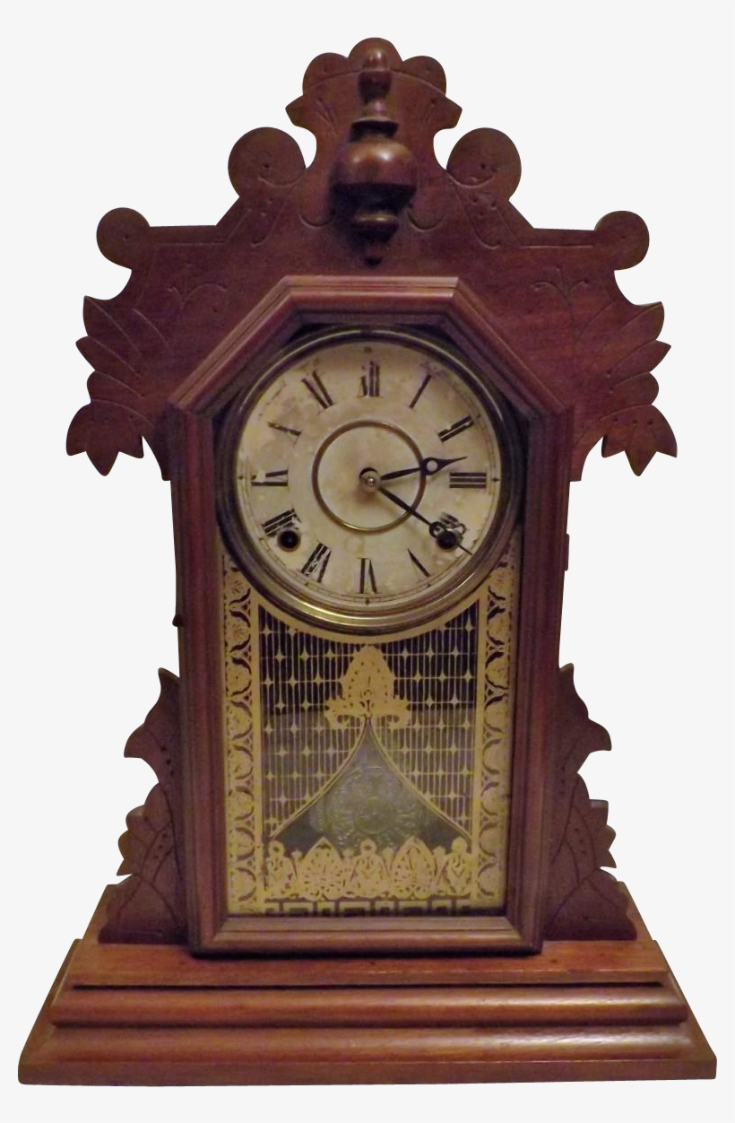 Antique 1881 Rare Gingerbread Kitchen Clock By The - Clock, transparent png #8106386