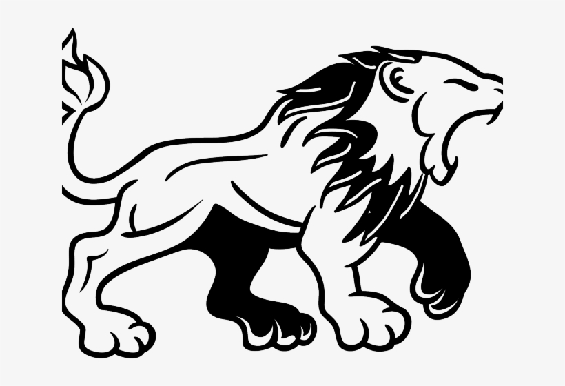Lion angry. White clipart tattoo black