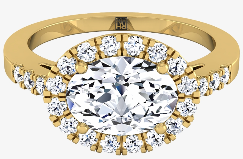 Oval Shape Diamond Halo Engagement Ring East West With - Engagement Ring, transparent png #8135194