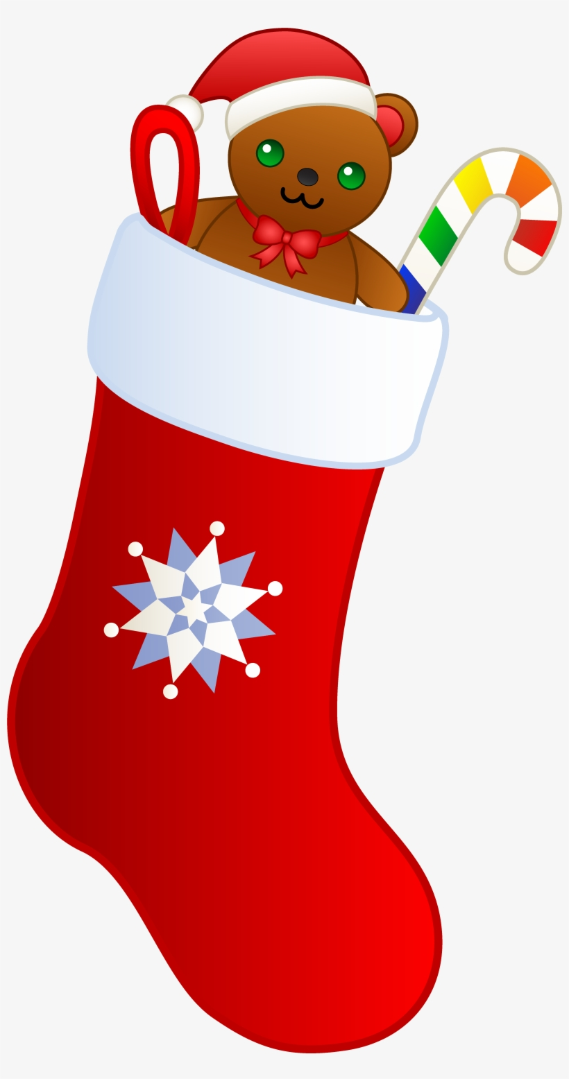 Christmas Stocking With Teddy - Christmas Stocking Transparent Background, transparent png #8145215