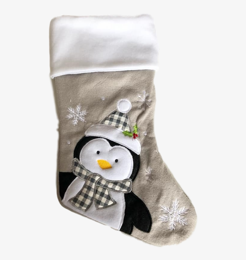 Grey Penguin Christmas Stocking - Christmas Stocking, transparent png #8145419