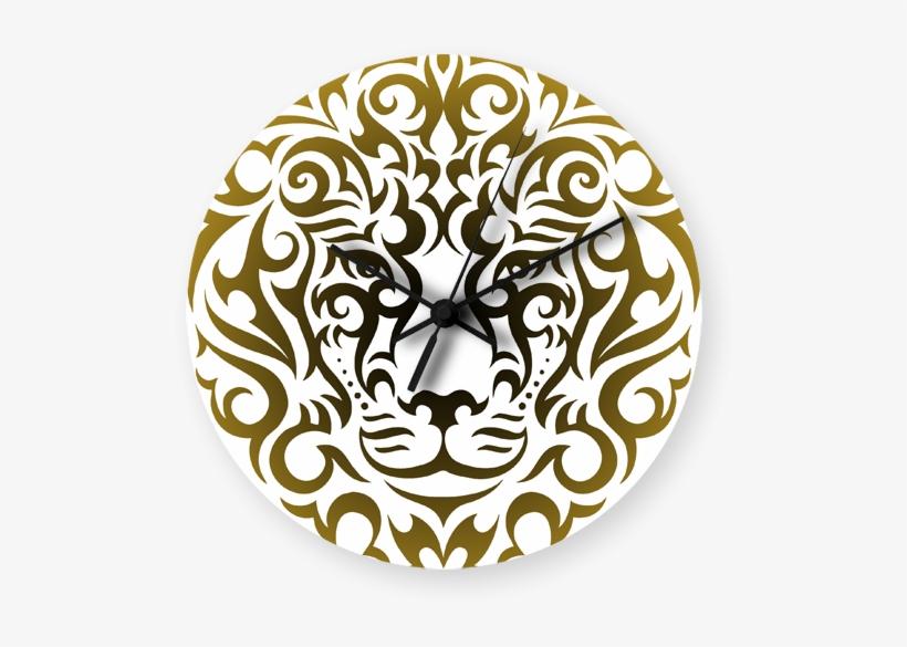 Lion Tattoo Vector Printed Wall Clock - Tattoo, transparent png #8148783