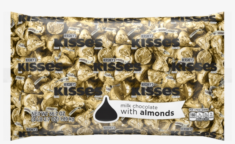Kisses, Milk Chocolate With Almonds Candy, Gold Foil, - Kisses Hershey's Gold, transparent png #8166132