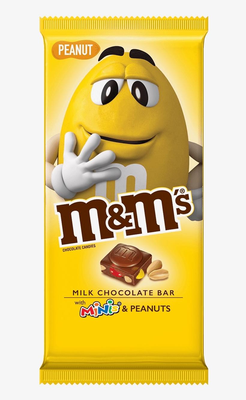 M&m's Milk Chocolate Bar With Minis & Peanuts - New M&m Chocolate Bar, transparent png #8176115