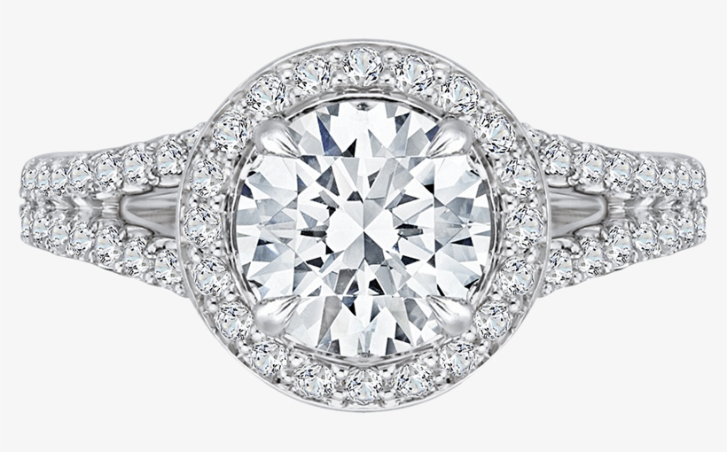 14k White Gold Round Halo Diamond Engagement Ring With - Engagement Solitaire Rings For Girl, transparent png #8185036