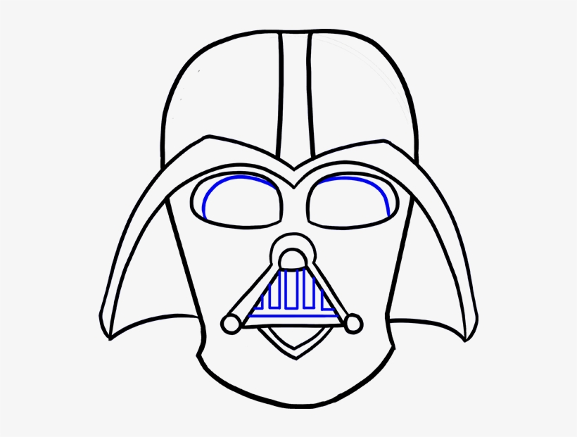 Styles Darth Vader Mask Drawing Step By Step Also Darth - Darth Vader Sketch Face, transparent png #8185637