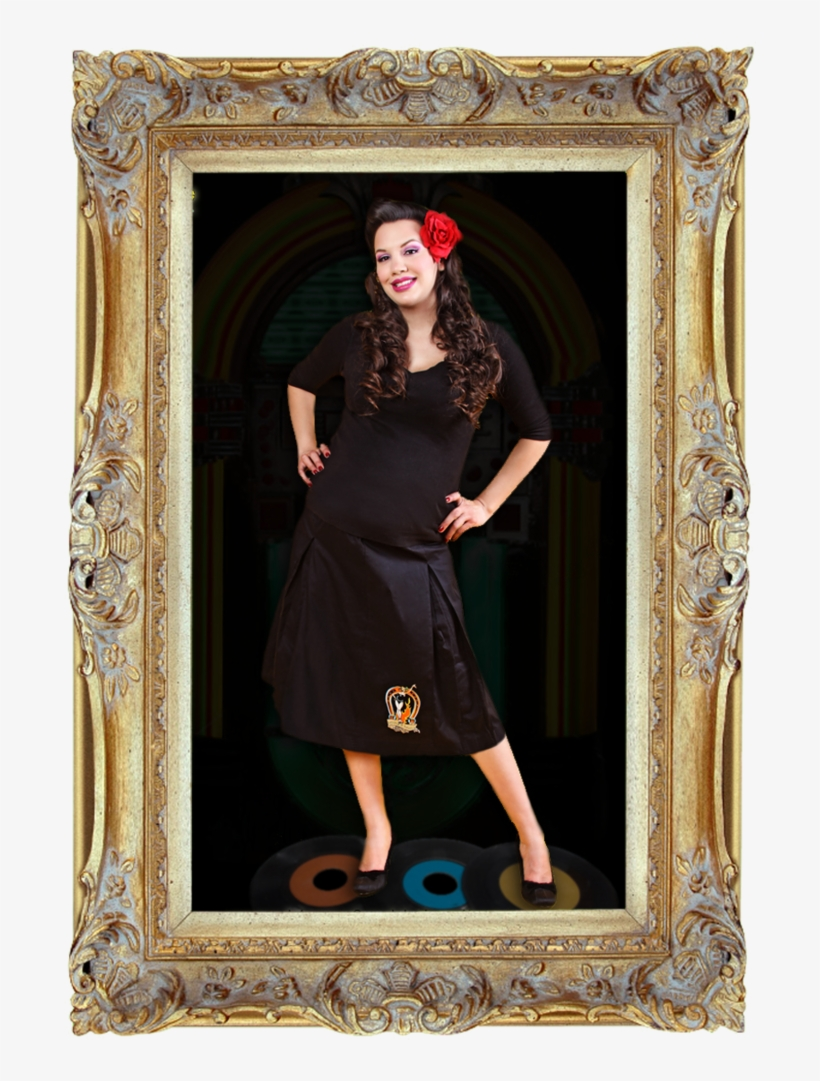 Lucky Lady Pin Up Girl Pleated Skirt - 19th Century Portrait Frame, transparent png #8185648
