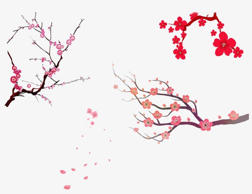 Cherry Blossom Tree Branch Png - Sakura Tree Painting Png, transparent png #820247