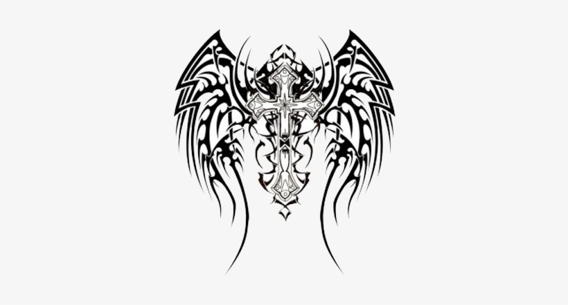 Celtic Tattoos Download Png - Tribal Cross And Wings Tattoo, transparent png #822142