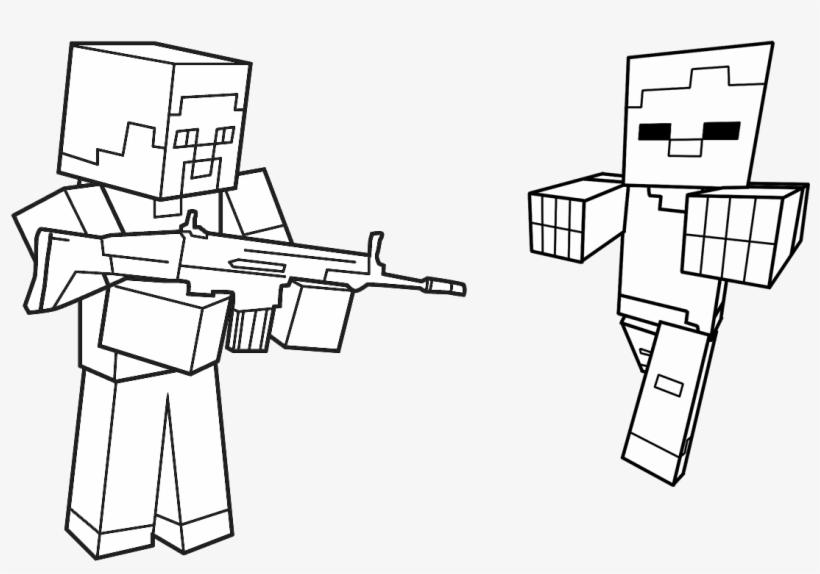 Jogo Pinte Herobrine E Zumbi De Minecraft Desenhos Para Colorir