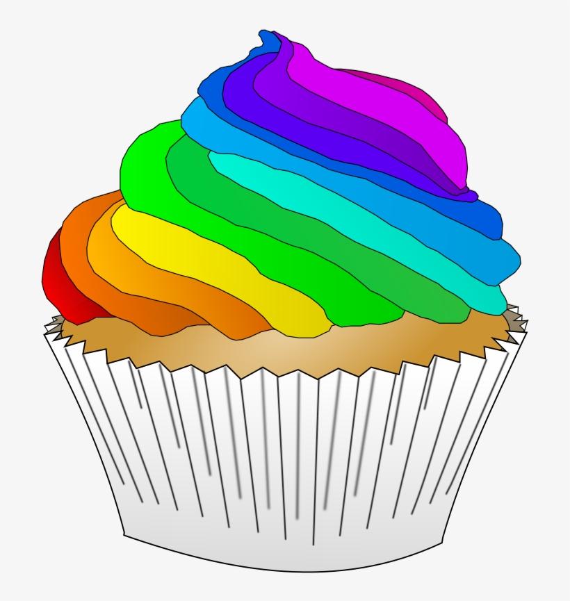 Svg Freeuse Stock Onlinelabels Clip Art Vanilla Cupcake - Rainbow Cupcake Clip Art, transparent png #8246702