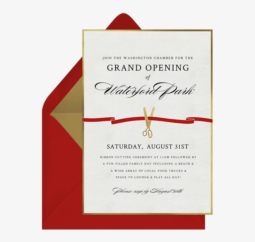 Ribbon Cutting Invitations Greenvelope - Grand Opening Ribbon Cutting Invitation, transparent png #8253125