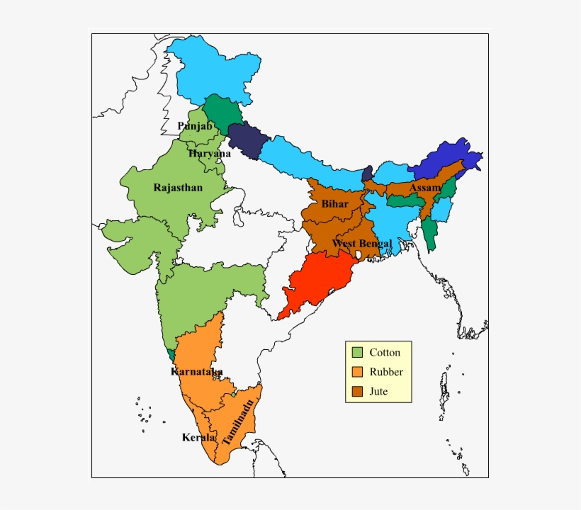 Major Producer States Ofcotton, Rubber,jutein India - India Map Image Png, transparent png #8256070