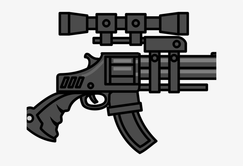 Gun Clipart Vector - Big Machine Gun Cartoon, transparent png #8256581