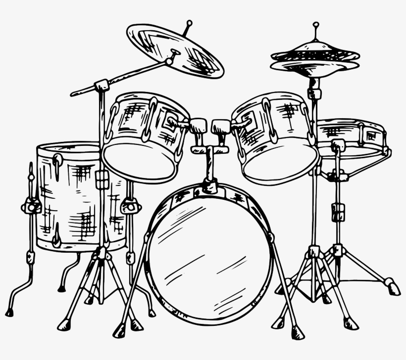 Drum Kit Wall Sticker - Sketch Of A Drum Set, transparent png #8261101
