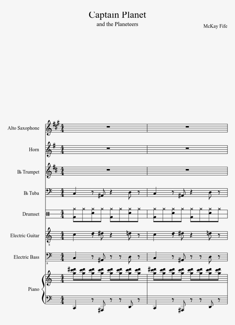 Captain Planet Theme Song Sheet Music For Piano, Alto - Sheet Music, transparent png #8263125