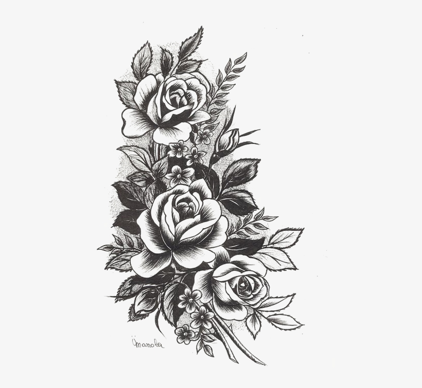 Rose Tattoo Png High-quality Image - Flowers Design Tattoo, transparent png #8295156